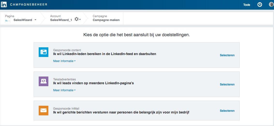 Advertentiemogelijkheden Linkedin