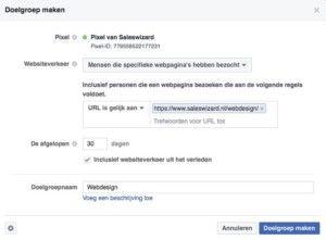 Aangepaste doelgroepen maken met het facebook pixel