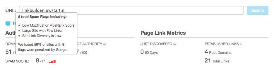 Spamcore checken in Open site explorer
