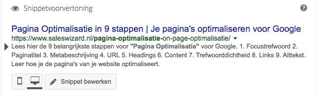 Optimalisatie paginatitel en metabeschrijving