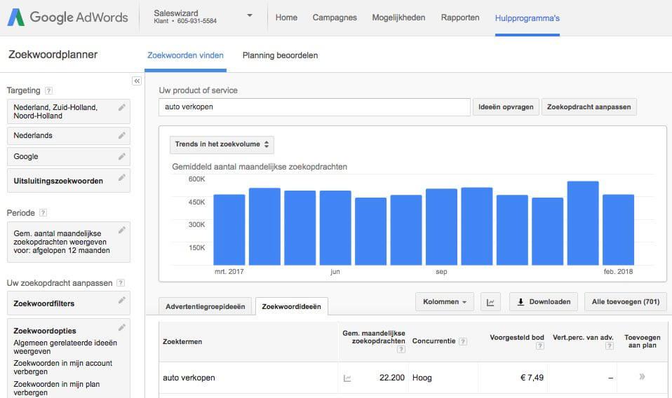 Zoekwoorden onderzoek met behulp van Google's zoekwoorden hulpprogramma