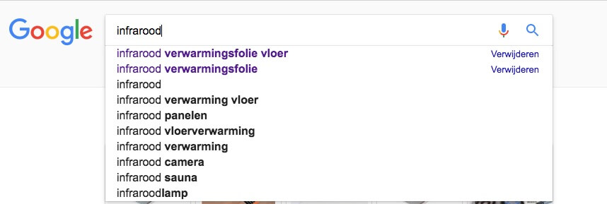 Zoekwoorden suggesties in Google