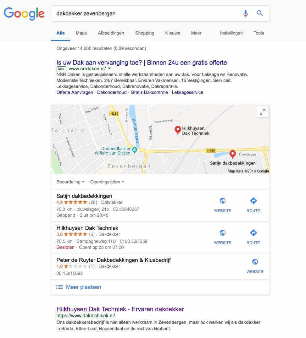 Als Dakdekker hoog in Google gevonden
