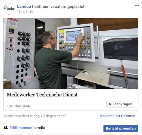 Je vacature promoten op Facebook