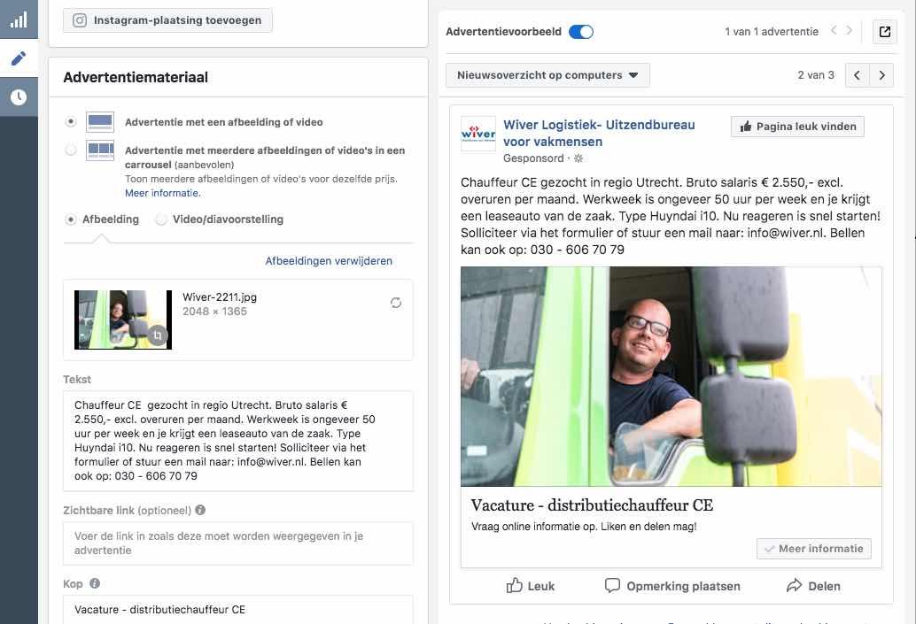 Vacature Advertentie op Facebook