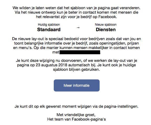 Facebook sjabloon e-mail