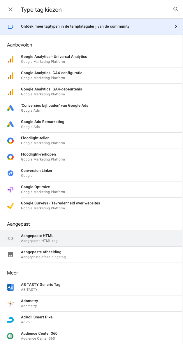 Google Tag Manager overzicht van tags