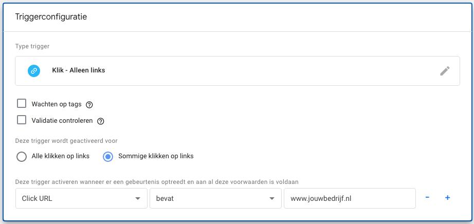 Google Tag Manager trigger interne link klik