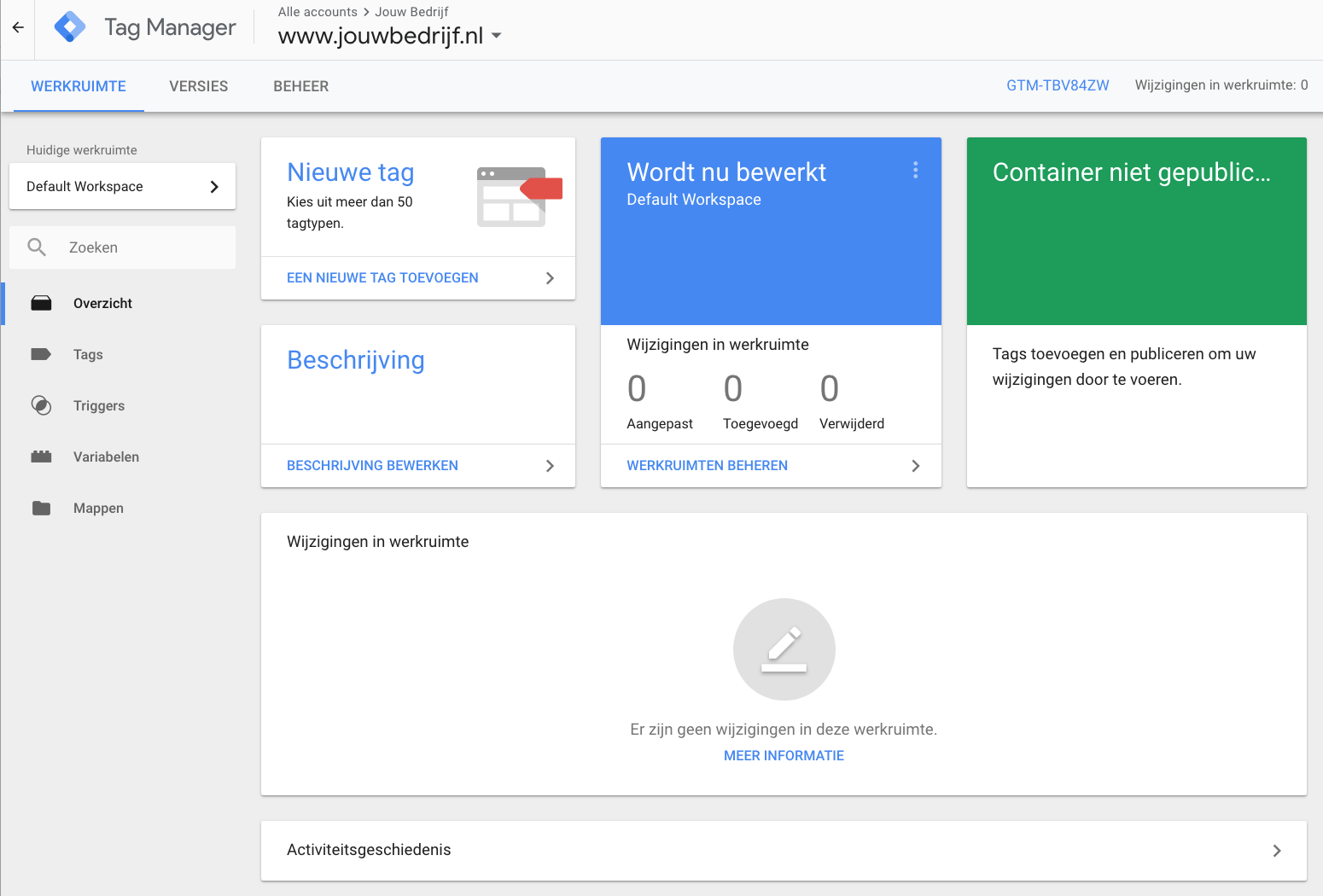 Google Tag Manger Werkruimte