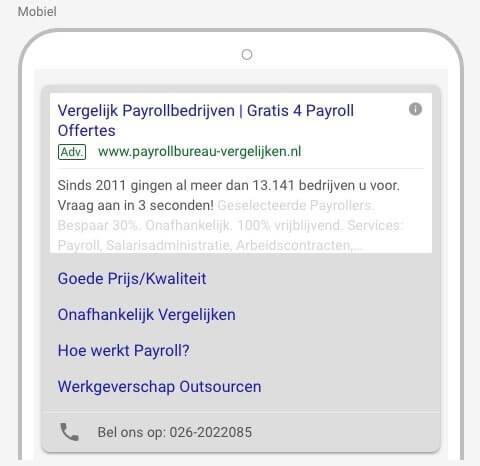 Oud formaat Google tekst ads