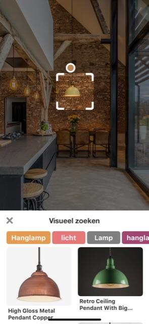 Visual search met Pinterest Lens