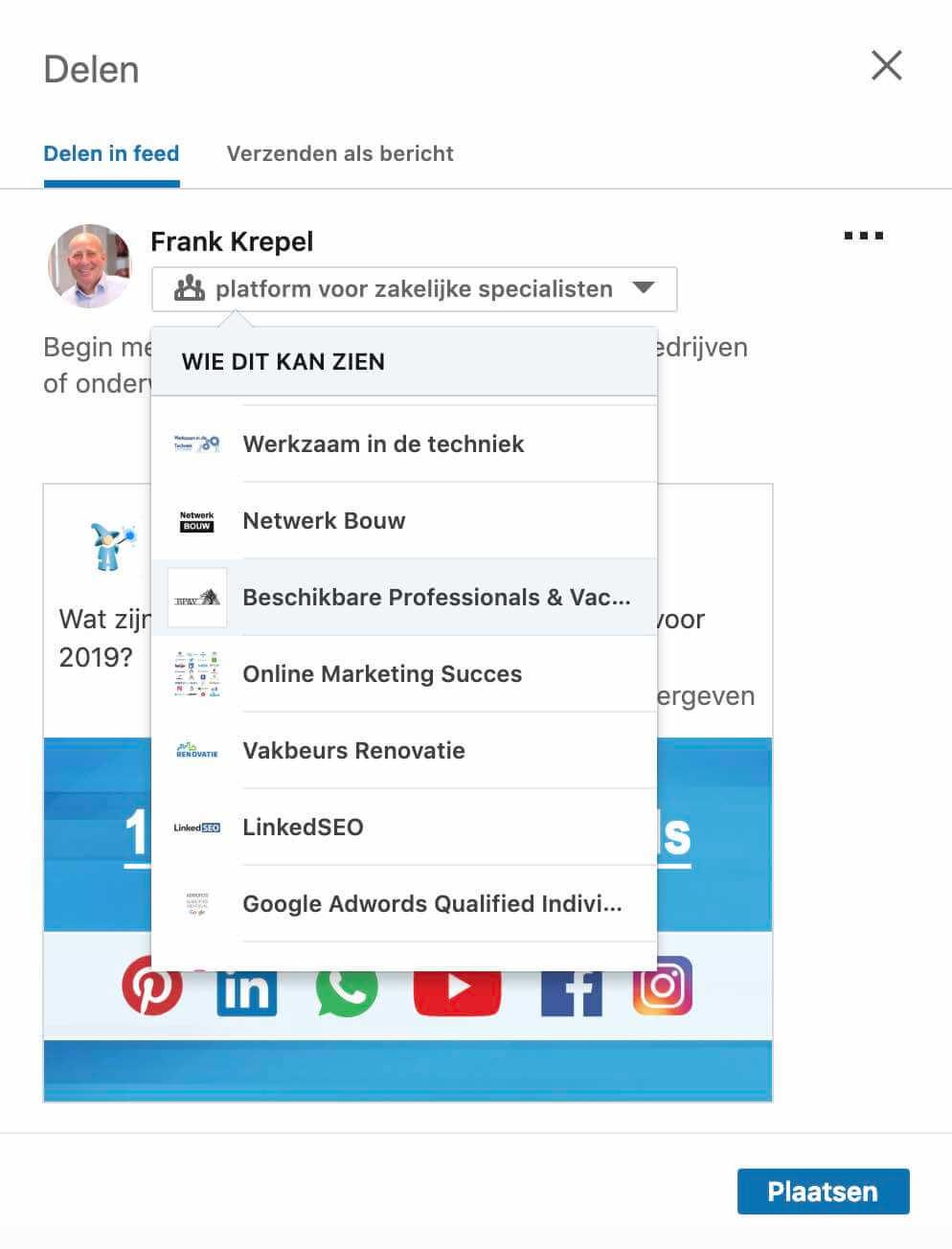 Delen in een Linkedin groep