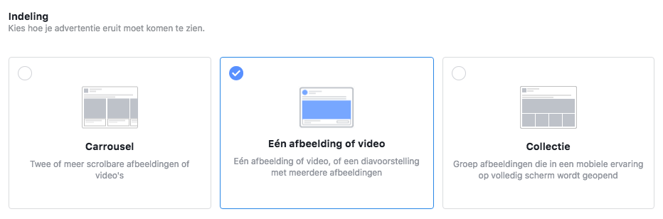 Facebook Advertentie Indeling