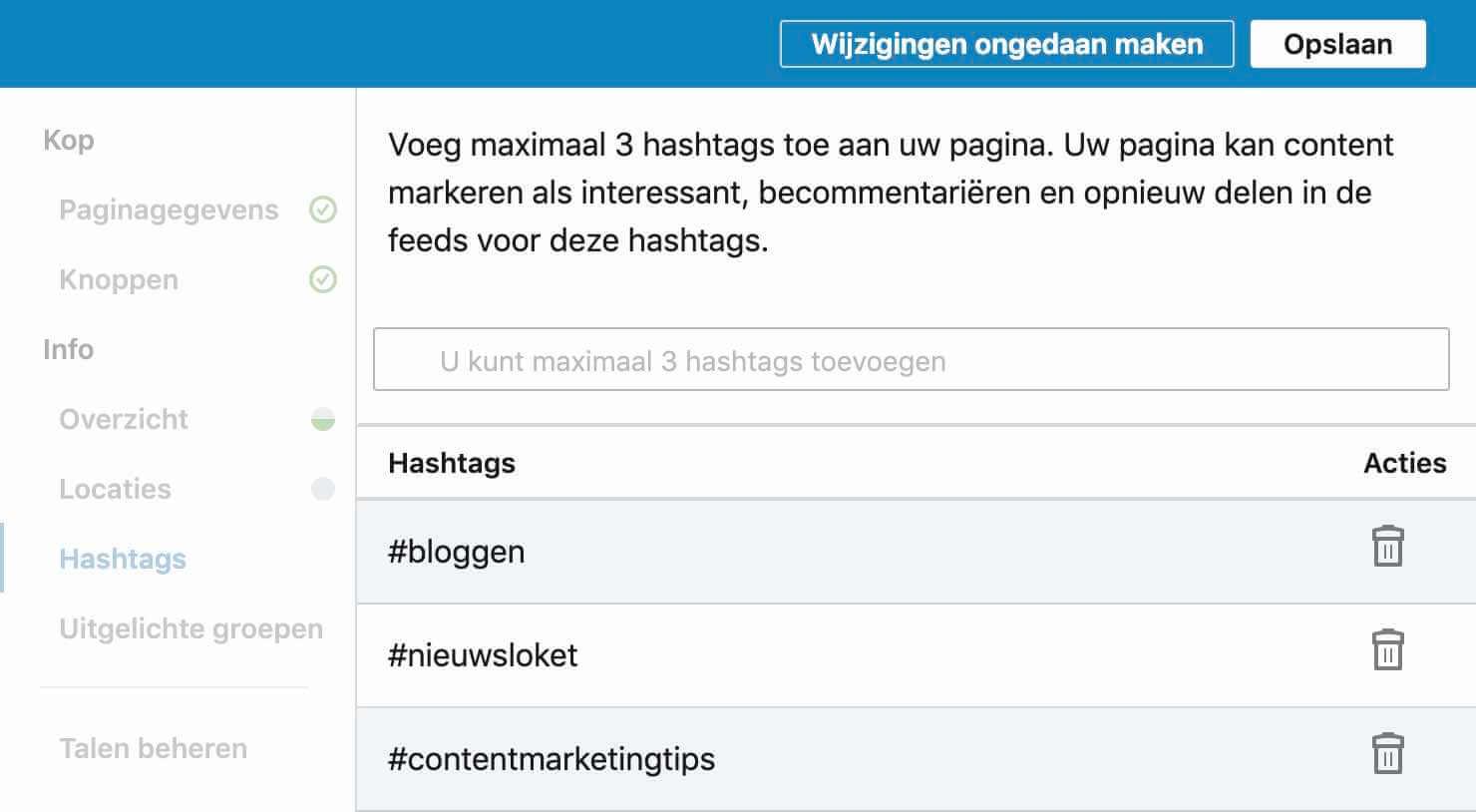 Hashtags Linkedin Bedrijfspagina