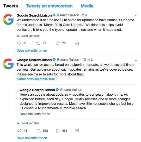 Google Update 12 maart 2019
