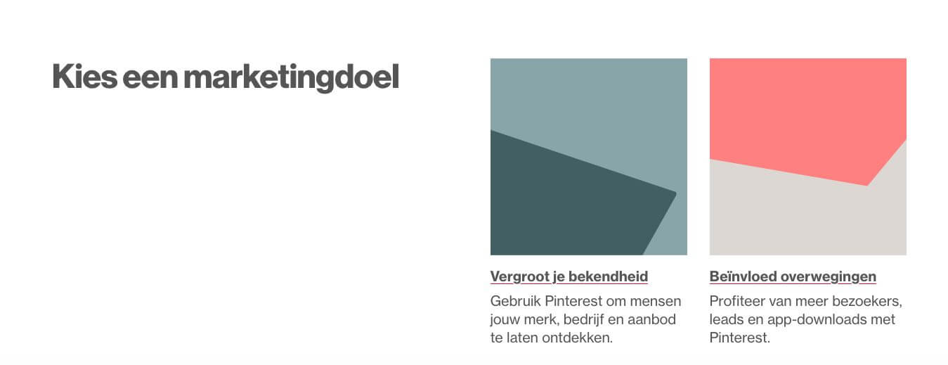 Marketingdoelstelling Pinterest