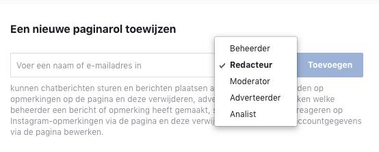 Facebook medebeheerder toevoegen