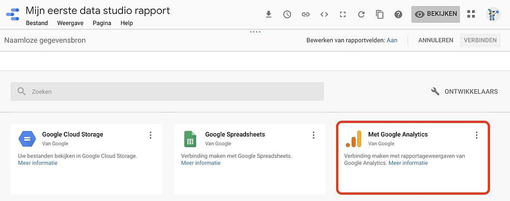 Google Data Studio verbinden met Google Analytics