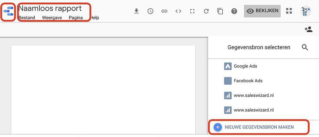 Google Datastudio Rapport maken