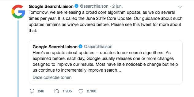 aankondiging Google June Update