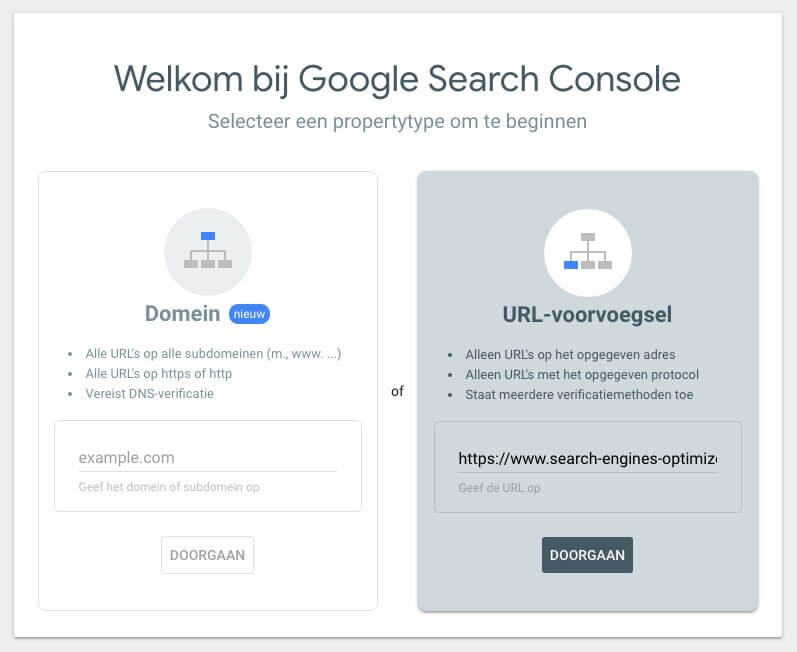 Search Console property toevoegen