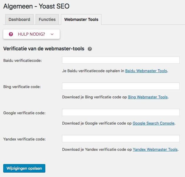 HTML tag toevoegen via Yoast