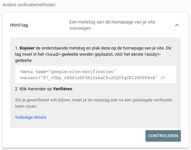 Search Console verifiëren met HTML tag