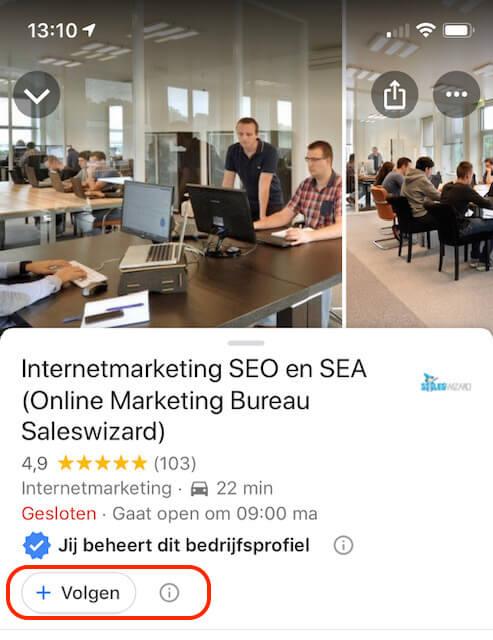 Bedrijf volgen in Google Maps