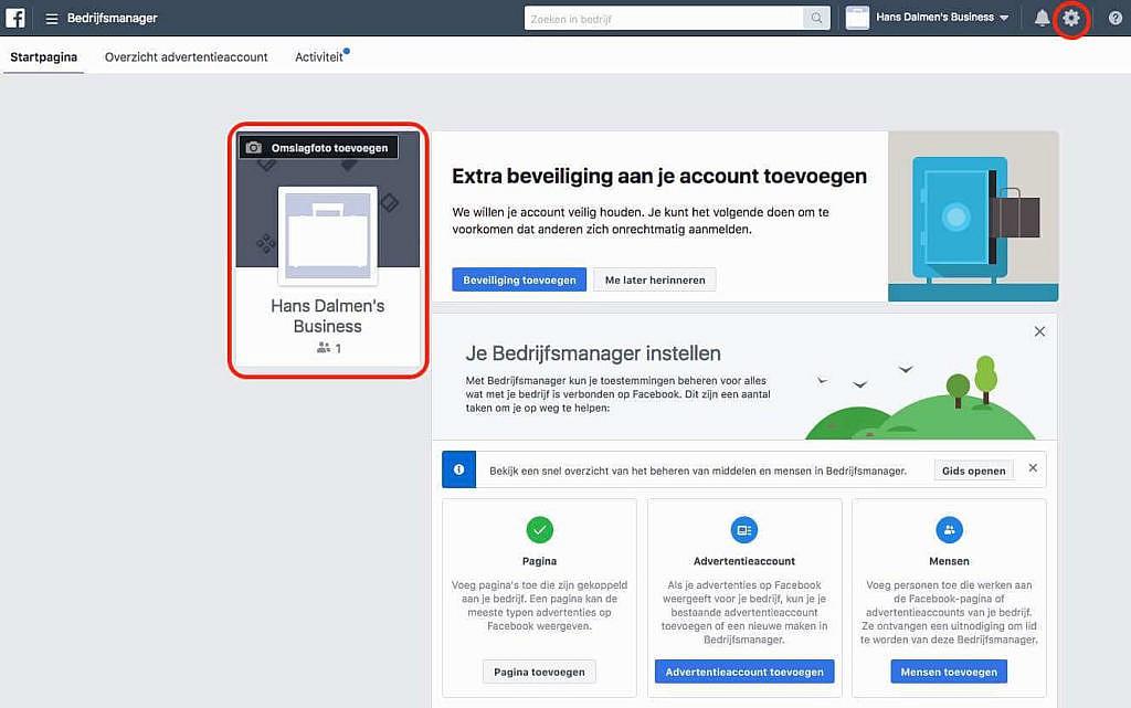 Bedrijfsmanager Facebook aanmaken