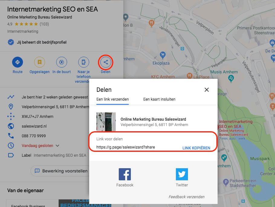 Korte naam claimen in Google Mijn Bedrijf