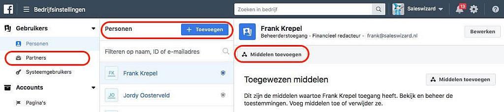 Middelen toewijzen aan personen in Facebook