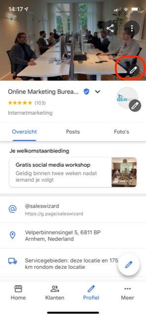 Omslagfoto wijzigen Google Bedrijfsprofiel