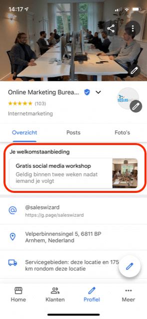 Welkomstaanbieding Google Mijn Bedrijf