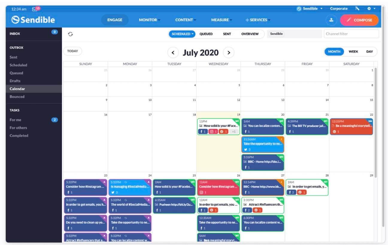 Social Media Kalender Vooorbeeld
