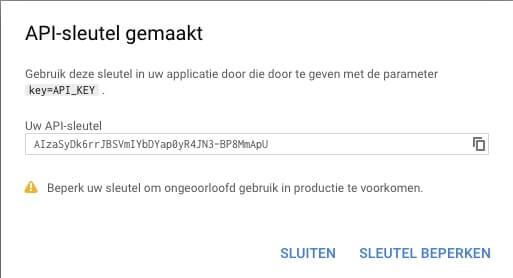 API sleutel voor Google Reviews kopieren