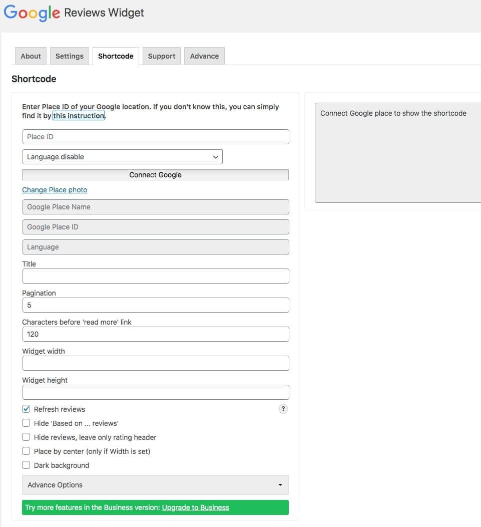 Shortcode Reviews widget