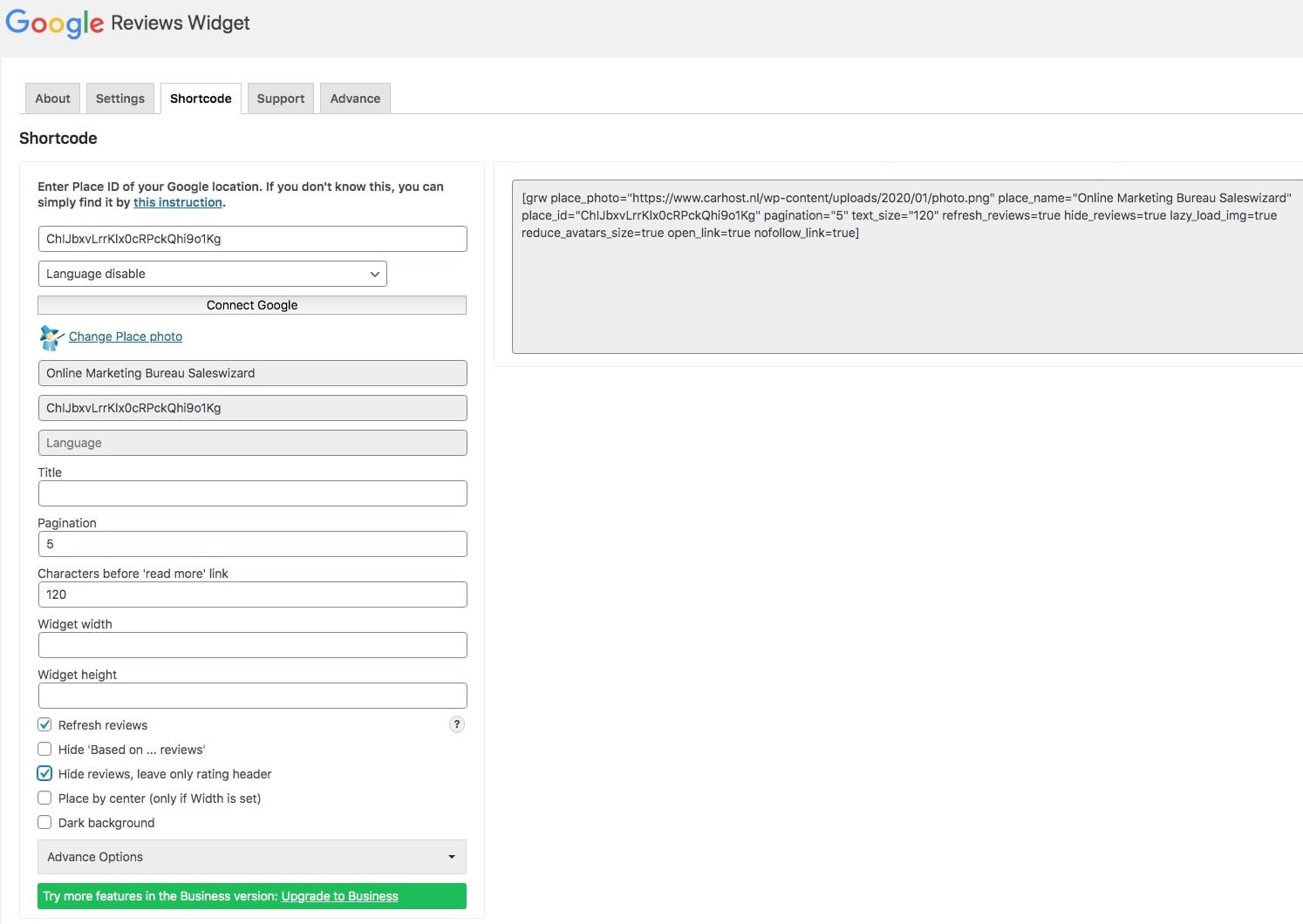 Google review op website met shortcode