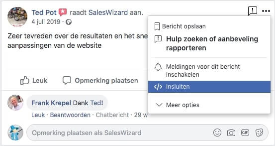 Facebook individuele review embedden op website