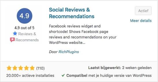 Facebook reviews voor op je website