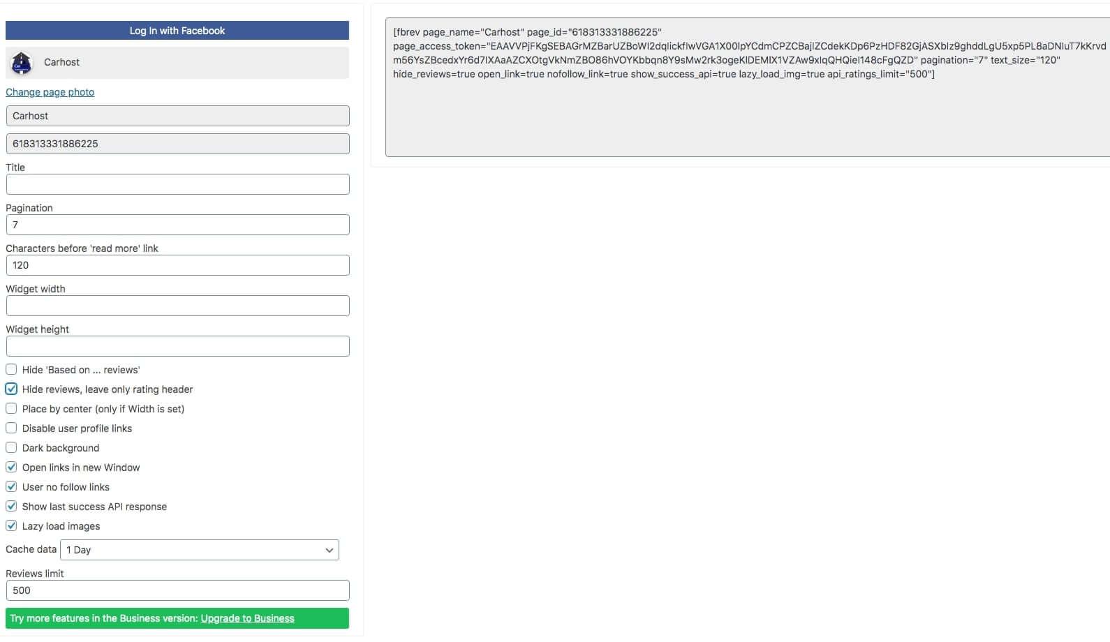 Facebook reviews widget customizen voor website