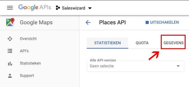 API gegevens Google