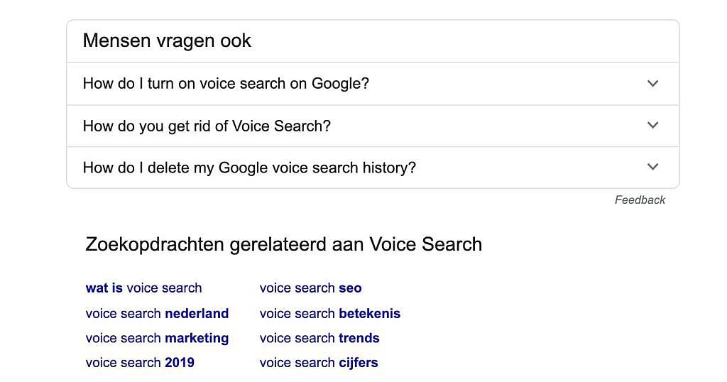 Gerelateerde zoekopdrachten aan voice search