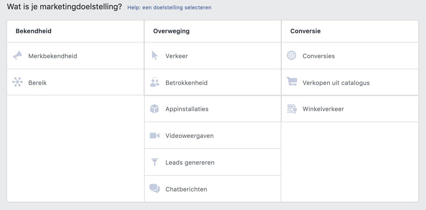 Facebook Marketing Doelstellingen