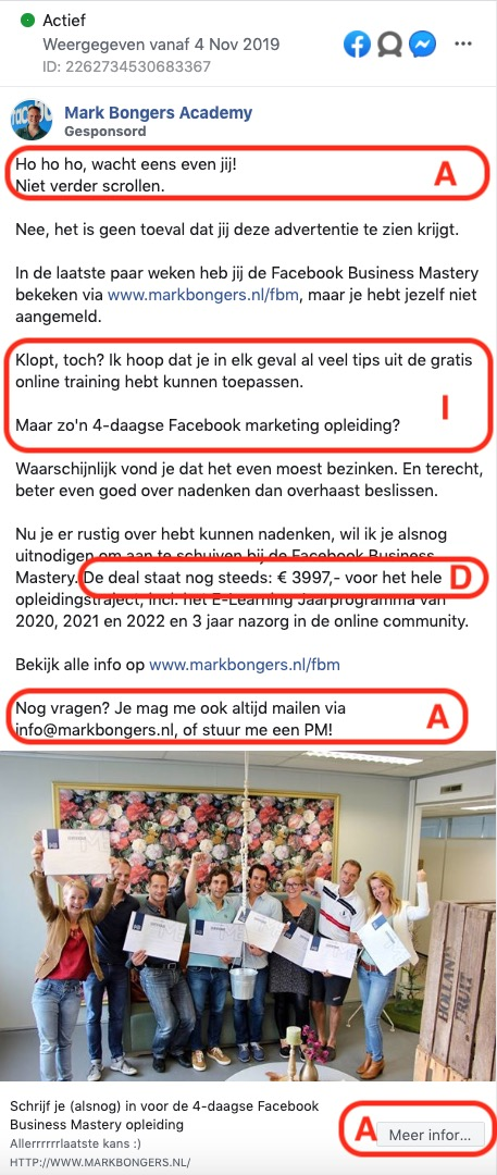 Voorbeeld vanAIDA-formule in Facebookbericht