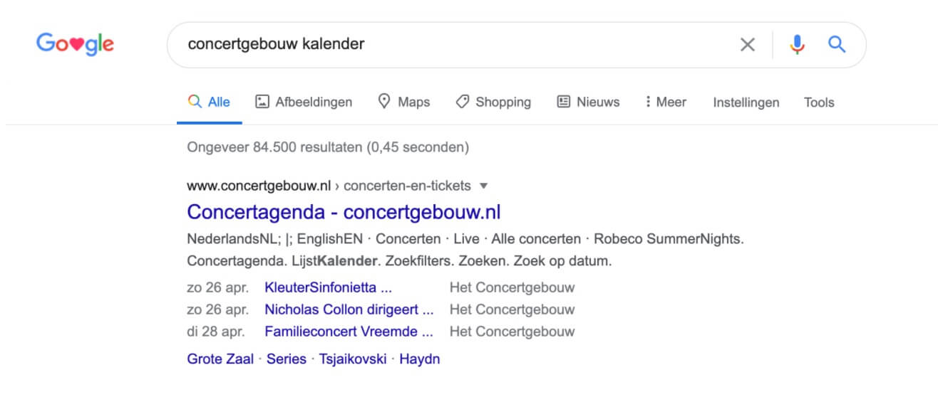 Voorbeeld Schema Markup Events in Google