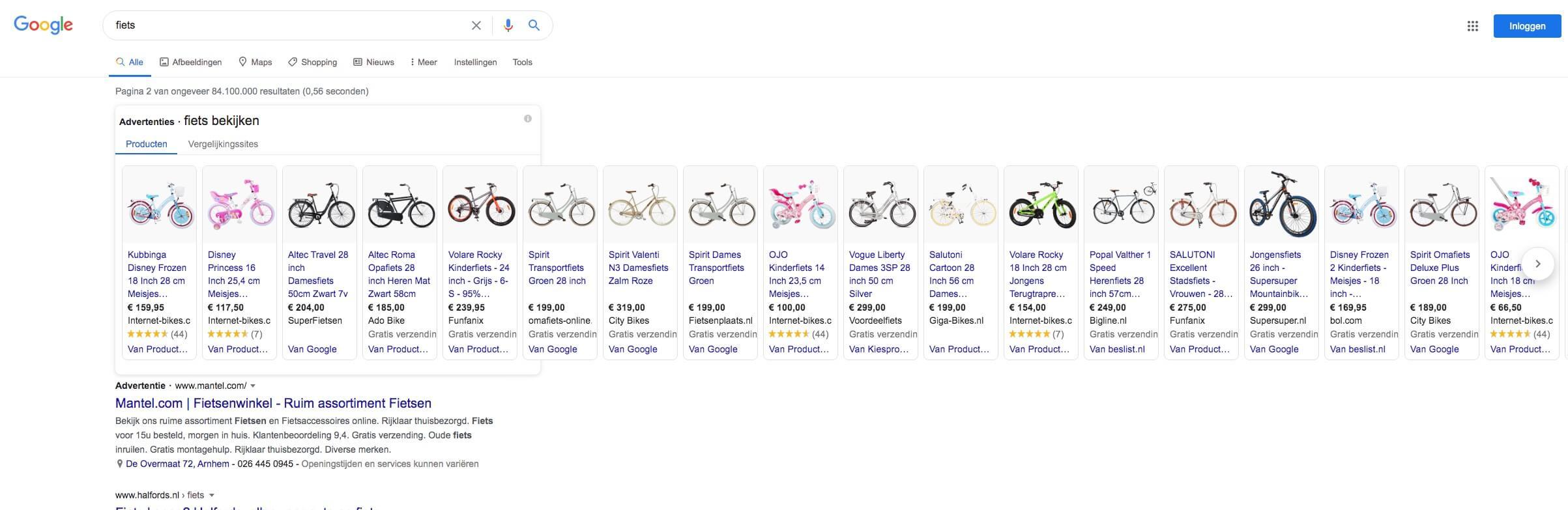 Google shopping fiets