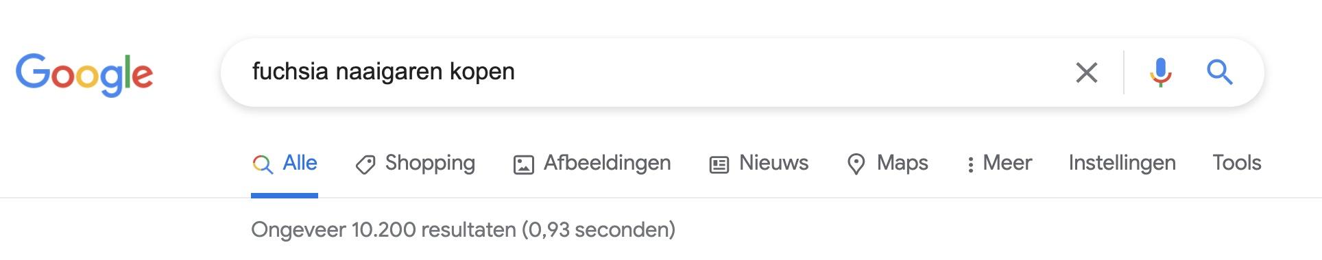 Google Dance voorbeeld - heel weinig concurrentie