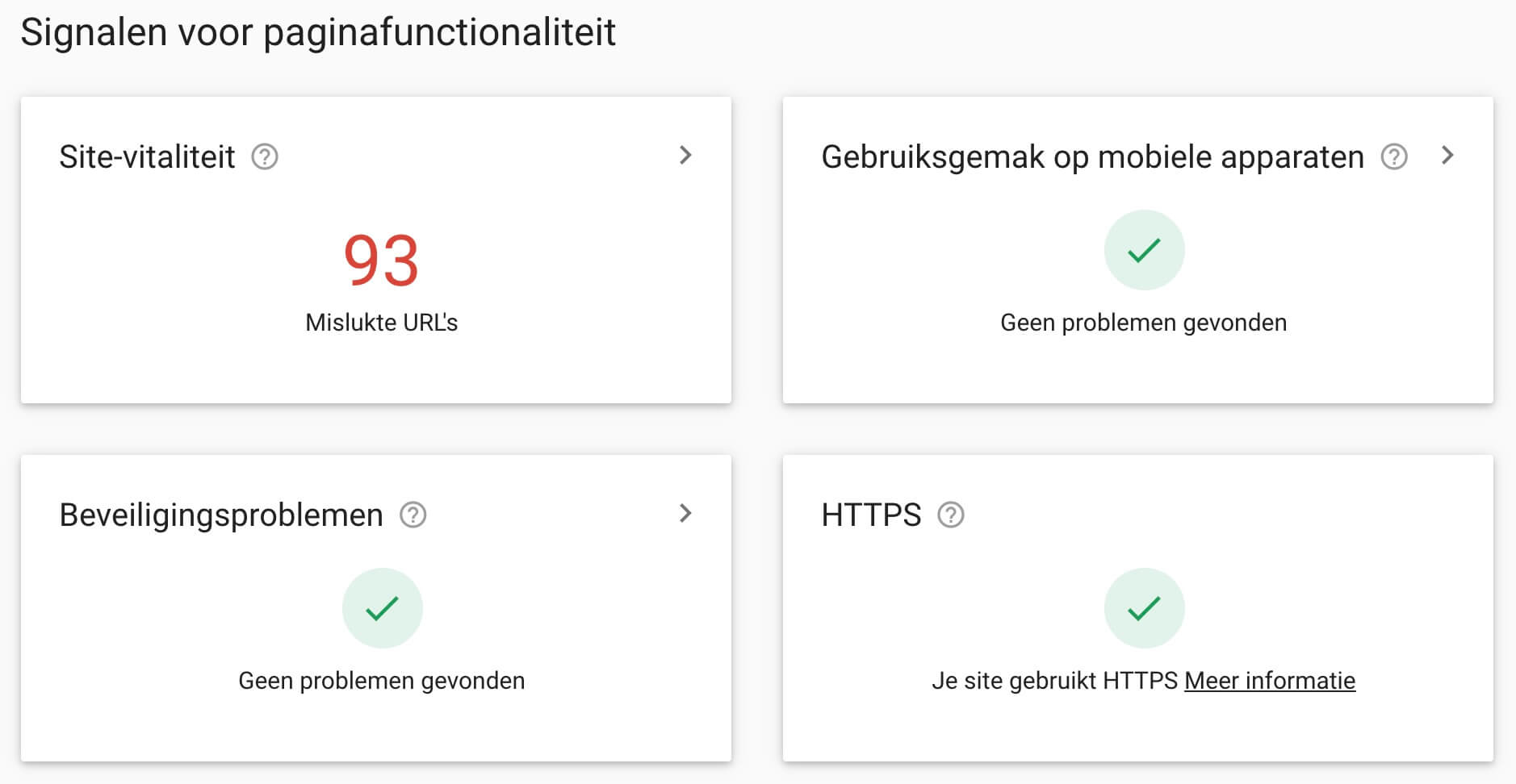 Page Experience in Search Console