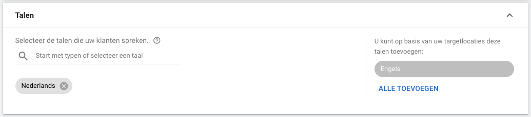 Google Ads tips taalinstellingen