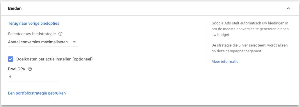 Google Ads tips biedstrategie tip